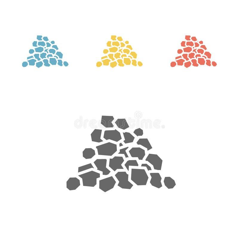 Coal icon, flat style vector illustration. royalty free illustration