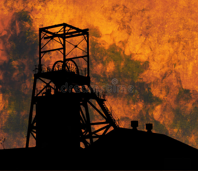 Coal Industry. Illustration of a coal mine against a smoke and fire filled sky stock illustration
