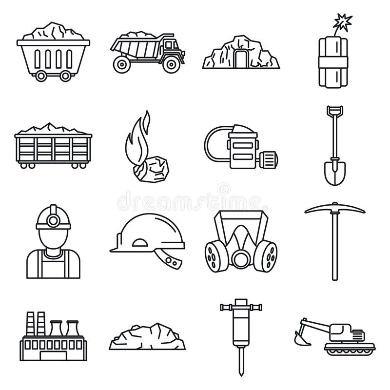 Coal industry factory icons set, outline style royalty free illustration