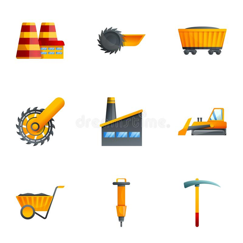Coal industry icon set, cartoon style. Coal industry icon set. Cartoon set of 9 coal industry vector icons for web design isolated on white background vector illustration