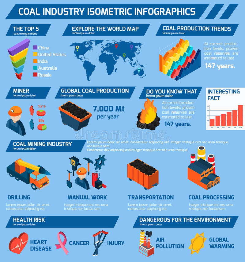 Coal Industry Isometric Infographics. Set with minerals extraction symbols and charts vector illustration vector illustration