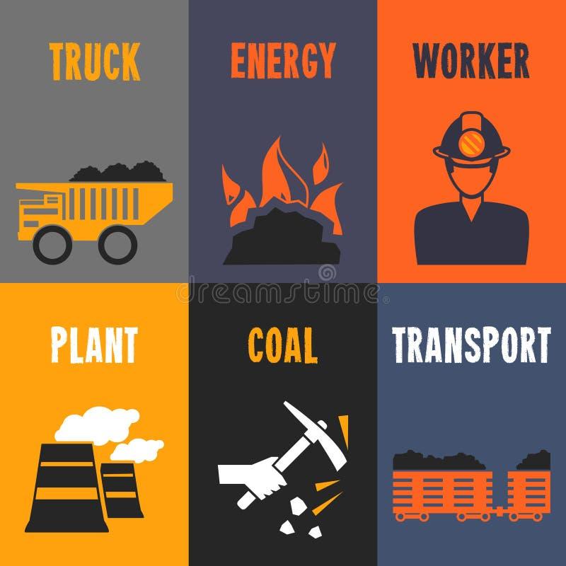 Coal industry mini posters vector illustration
