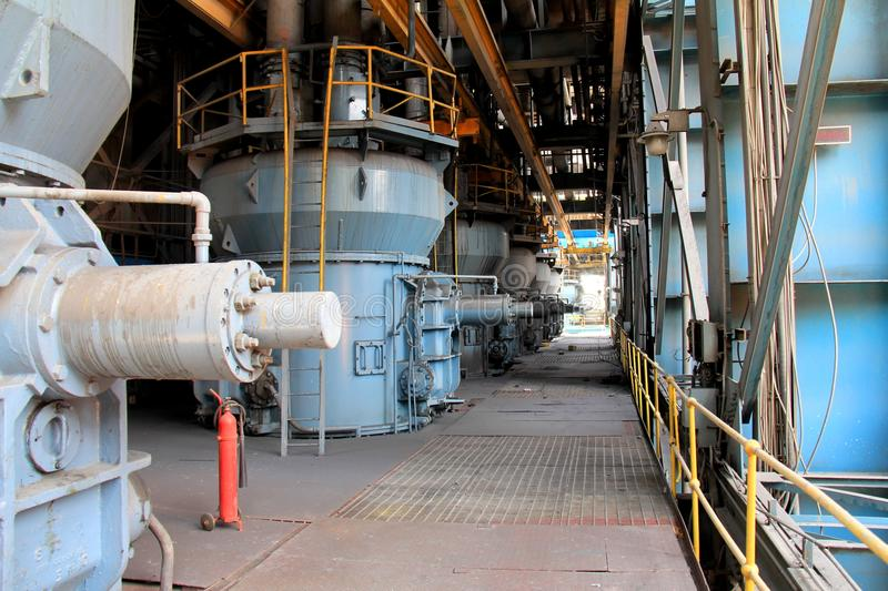 Coal Mills of a thermal power plant. Coal mills of thermal power plant, UP, India stock photos
