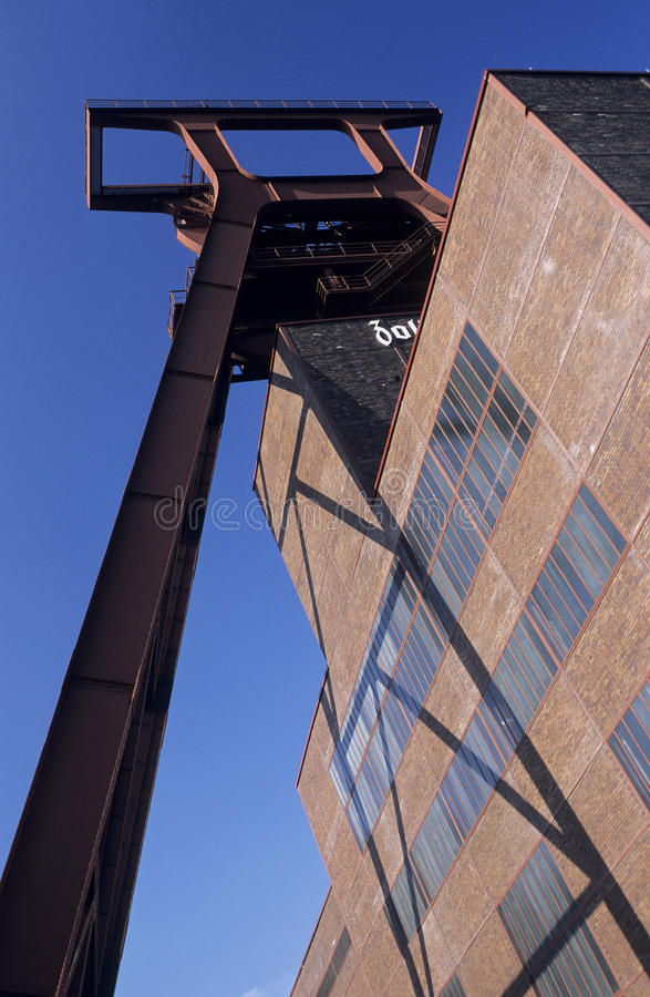 Coal-mine. Headgear of coal-mine Zollverein in the city of Essen on a bright day stock photography