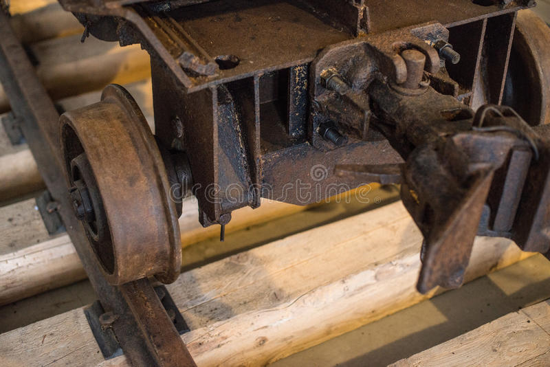 Coal mine cart. View of old coal mine cart royalty free stock image