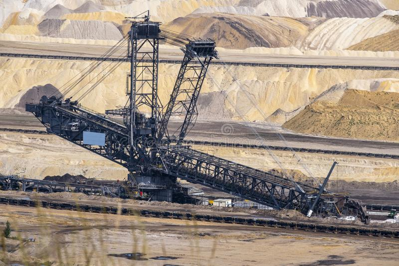 Coal mine plant in germany. Bucket wheel excavator in a coal mine, Inden near Dueren germany, spring 2019 royalty free stock images