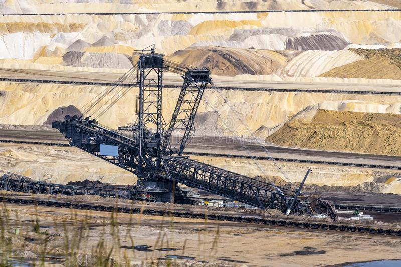 Coal mine plant in germany. Bucket wheel excavator in a coal mine, Inden near Dueren germany, spring 2019 royalty free stock image