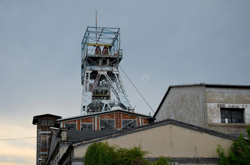 Coal mine shaf. Old coal mine shaft in Knurow, Poland royalty free stock images