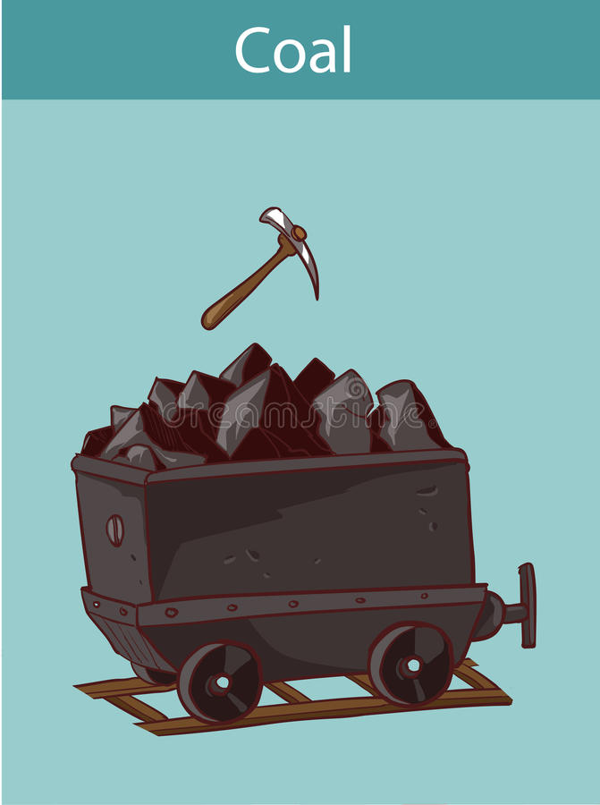 Coal mine trolley, mining industry, coal mining royalty free illustration