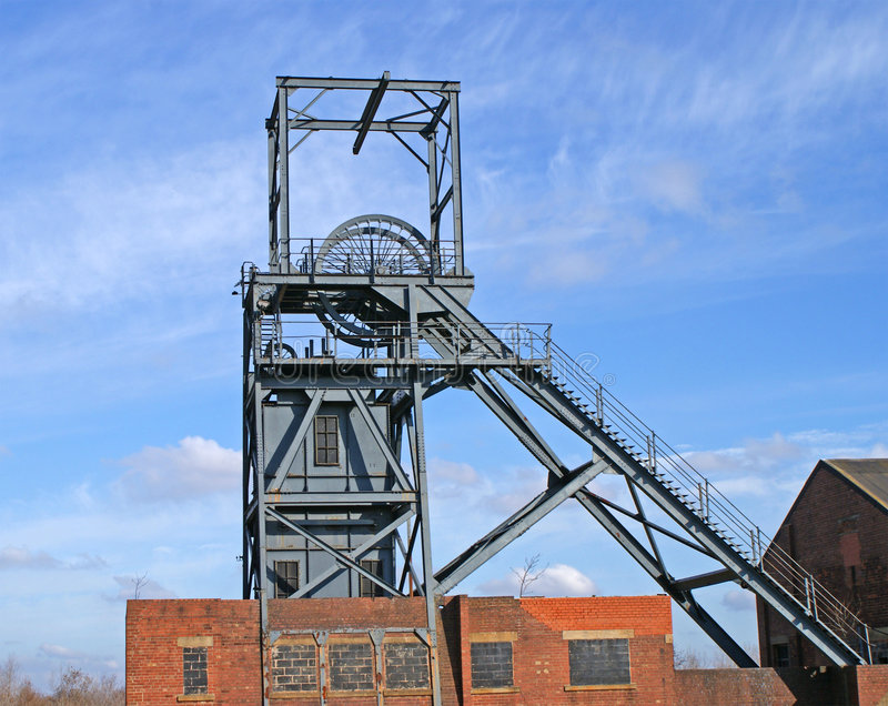 Coal Mine Winding Gear. Image of an abandoned pit head winding gear in the old Yorkshire Coal Field, Barnsley, UK stock photo