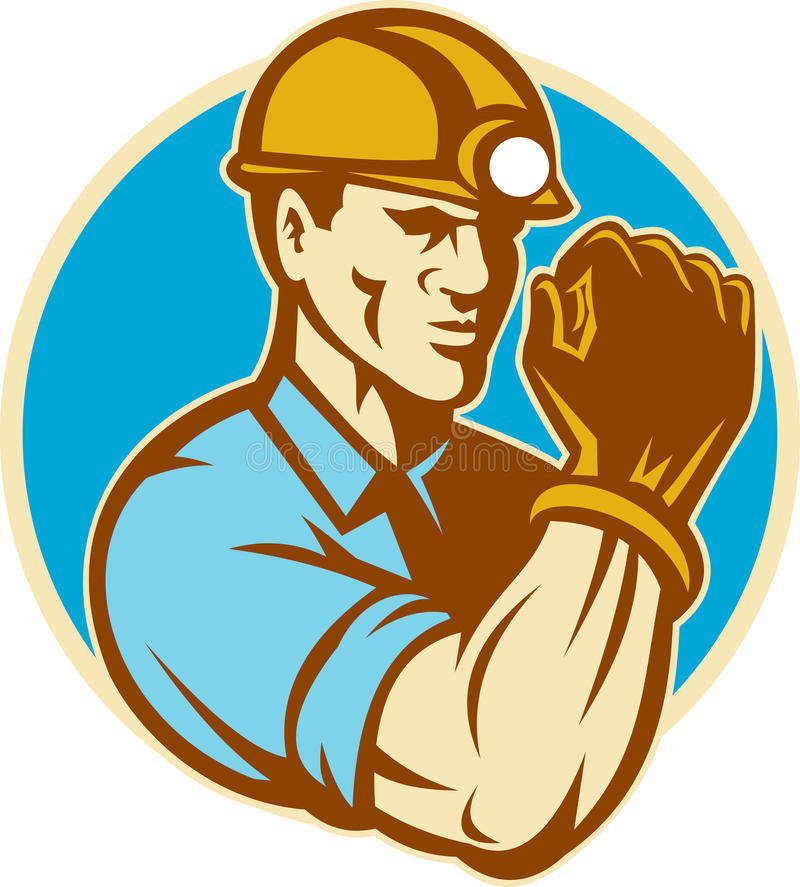 Coal Miner With Clenched Fist Retro Royalty Free Stock Image