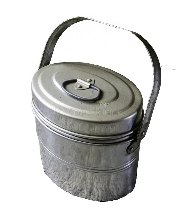 Coal Miner lunch pail - isolated. Authentic aluminum metal coal miners lunch pail cerca 1980s from a miner in eastern Ohio. Metal lunch pails were used by miners royalty free stock photos