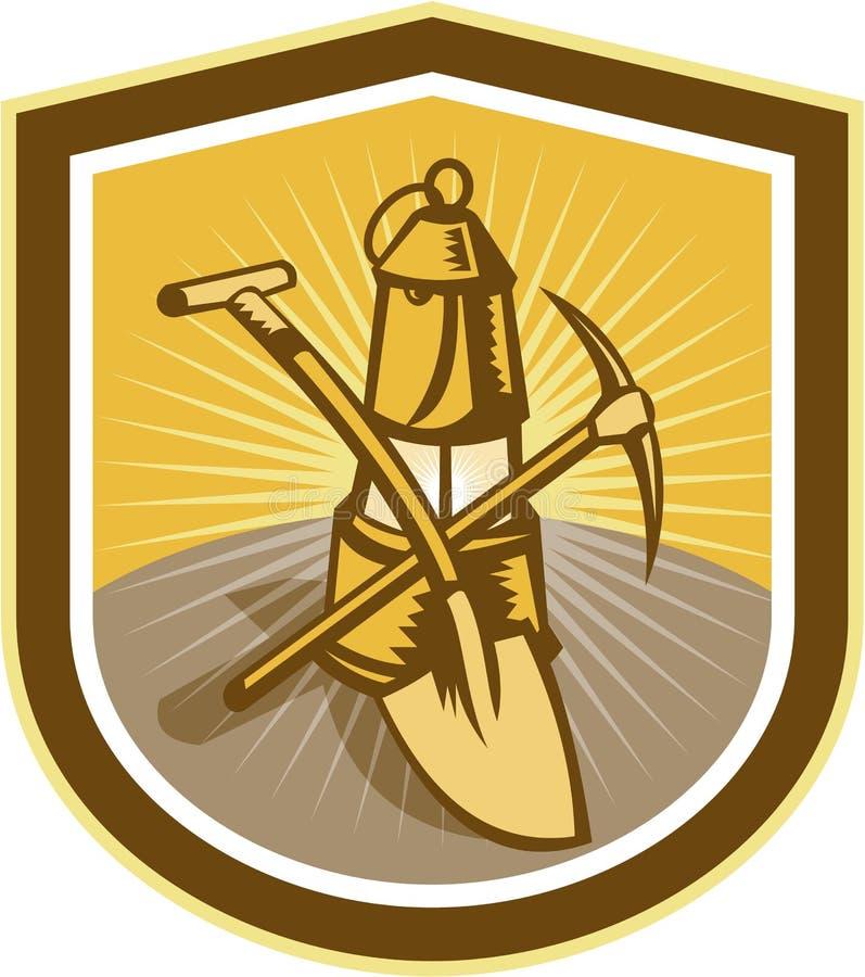 Coal Miner Pick Axe Shovel Lamp Shield Retro vector illustration