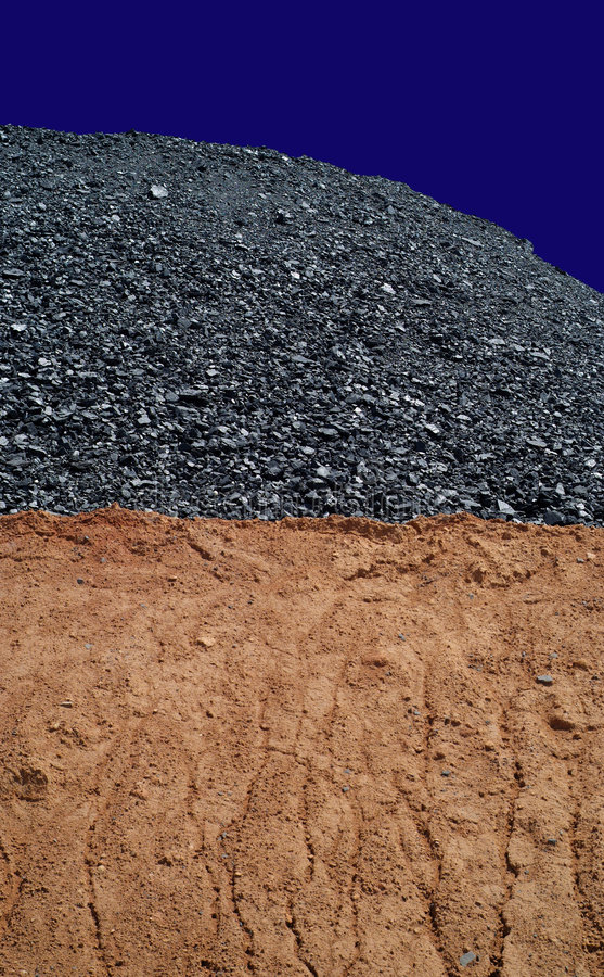 Coal mining 1. Coal mining hill of black energy on blue sky royalty free stock image