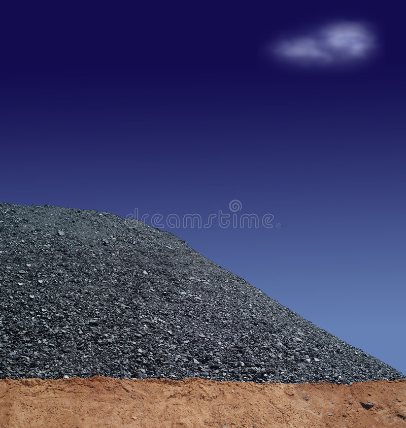Coal mining 2. Coal mining hill of black fossil fuel on blue sky with white cloud stock photos