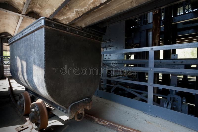 Coal mining cart, wagon, Marcinelle, Charleroi, Belgium royalty free stock images