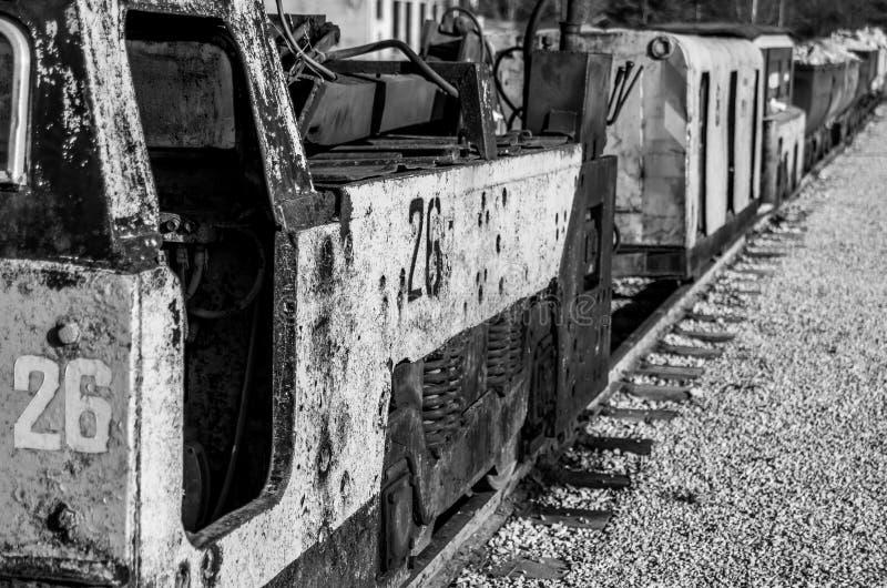 Coal mining carts train railway stock photo