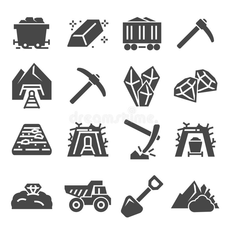 Coal mining factory industry icons set. Vector stock illustration