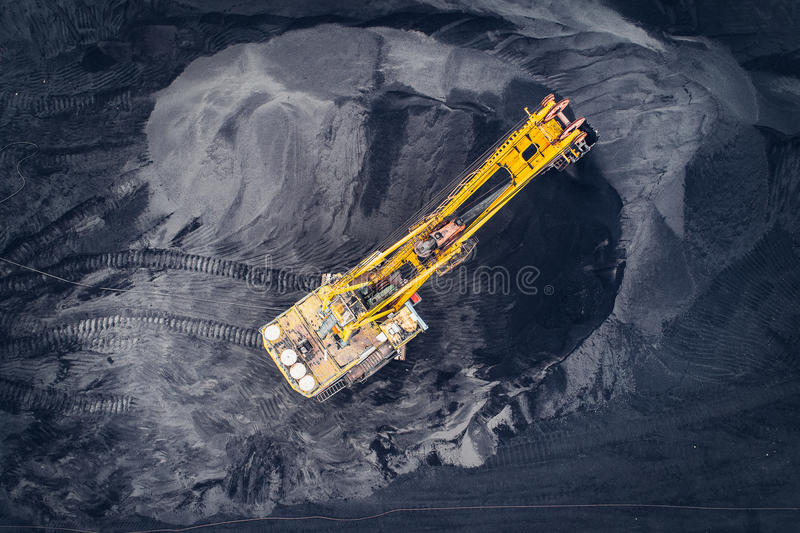 Coal mining at an open pit. From above royalty free stock photography