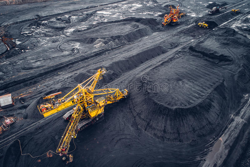 Coal mining at an open pit. From above royalty free stock photos