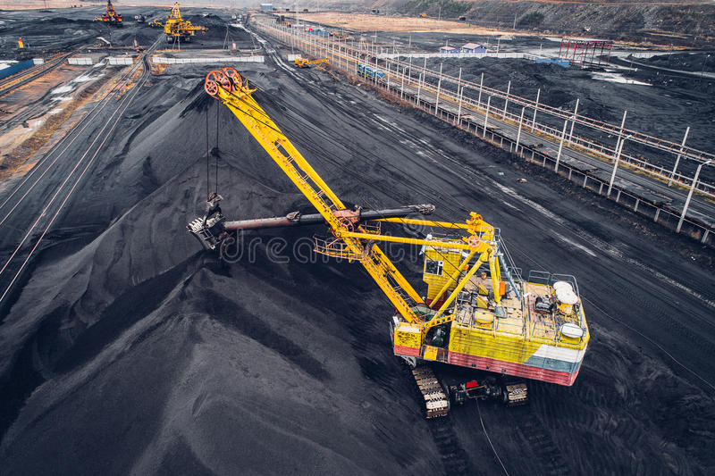 Coal mining at an open pit. From above stock photography