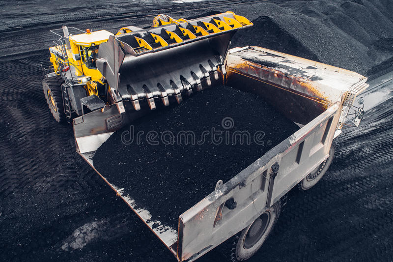 Coal mining at an open pit. From above stock image