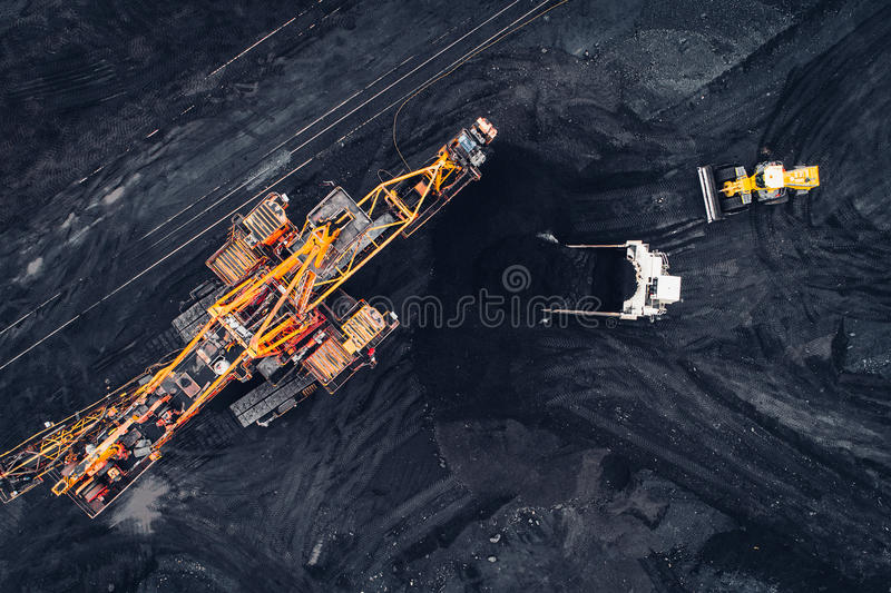 Coal mining at an open pit. From above royalty free stock images