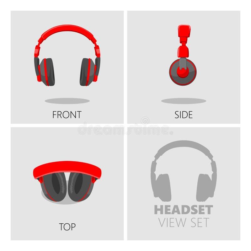 Headset view set vector illustration