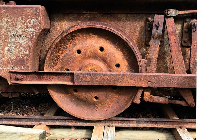 Rusted Train Wheel from Abandoned Coal Car royalty free stock image