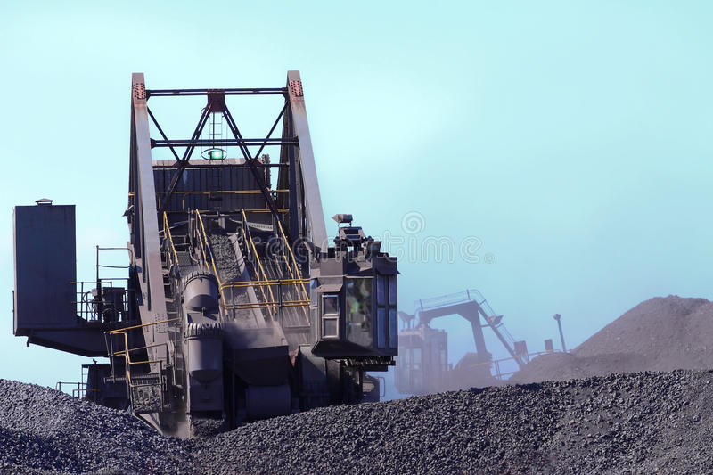 Coal moving machinery royalty free stock photos