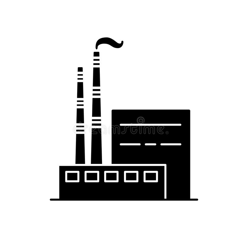 Coal power plant silhouette icon in flat style royalty free illustration