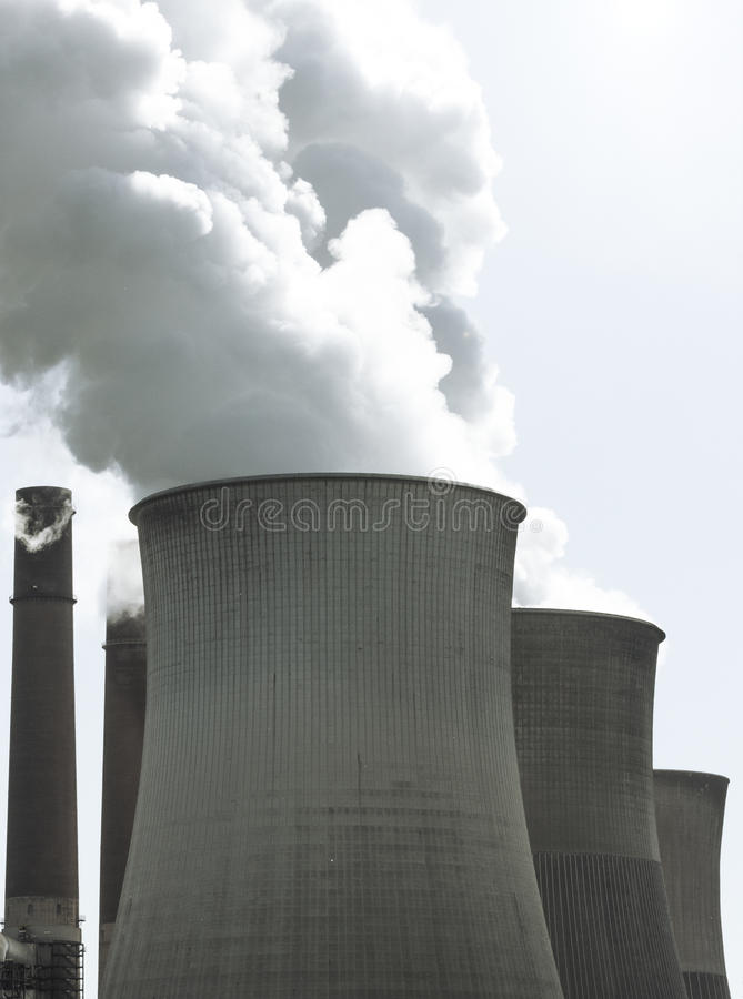 Coal power station. Smoke emission from a coal power station stock photo