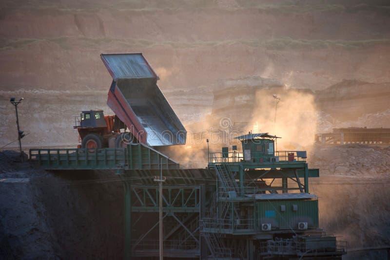 Coal-preparation plant. Big mining truck at work site coal trans. Portation stock photo