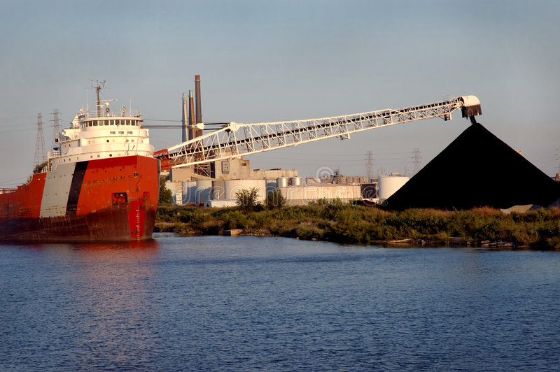 Coal Ship, Detroit stock photo
