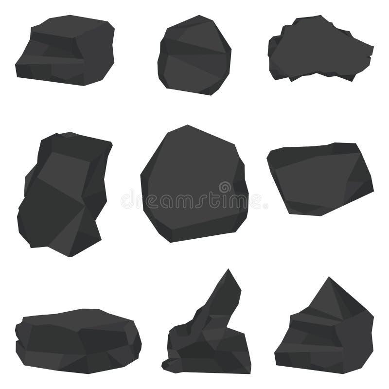 Coal stones set stock illustration