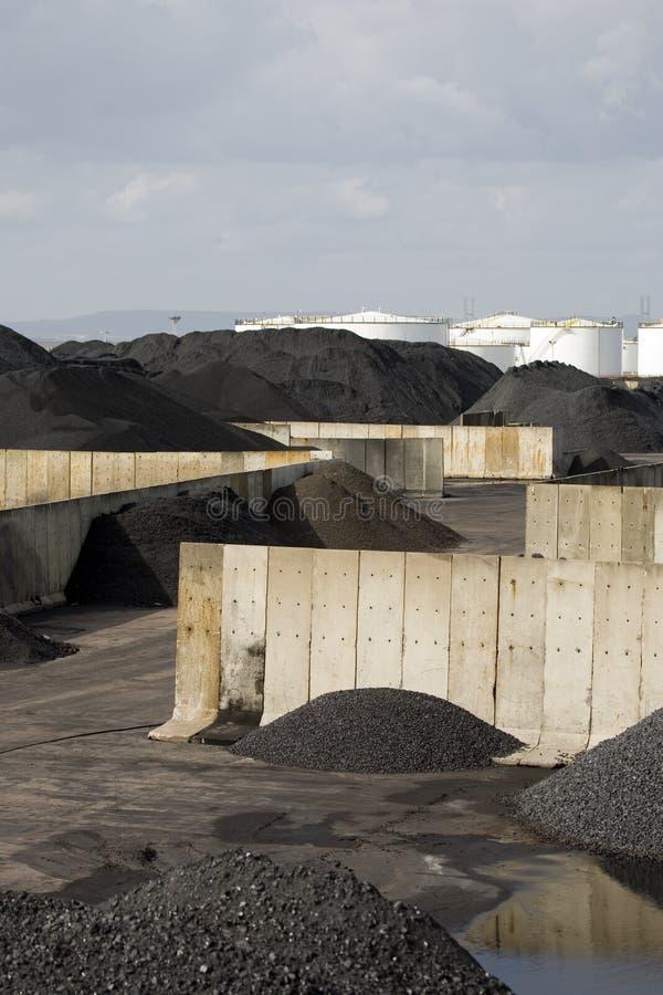 Coal storage piles royalty free stock image