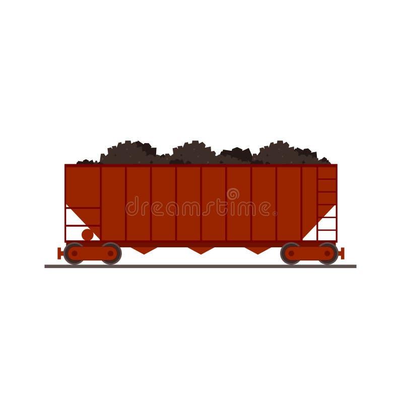 Coal train wagon icon stock illustration