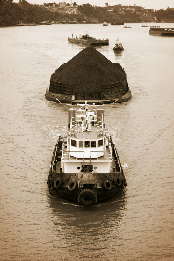 Download Coal transportation stock photo. Image of aerial, barge - 22723064