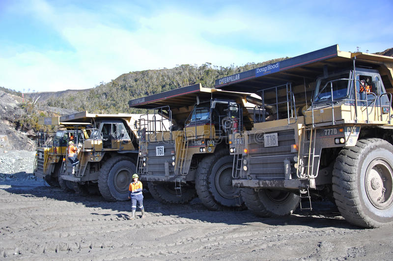 Coal truck lineup stock photo