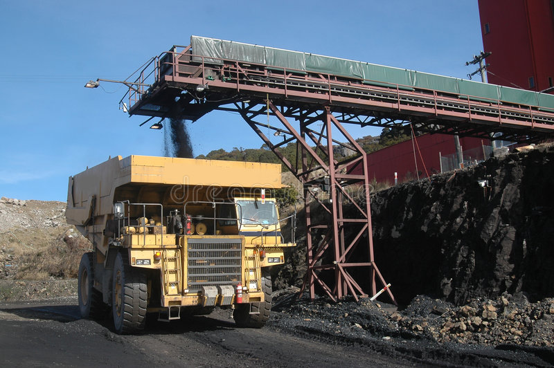 Coal truck loading stock photography