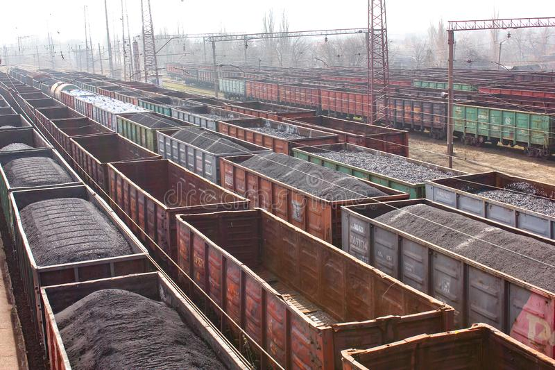 Coal wagons on the railroad.  View of the railway. stock images