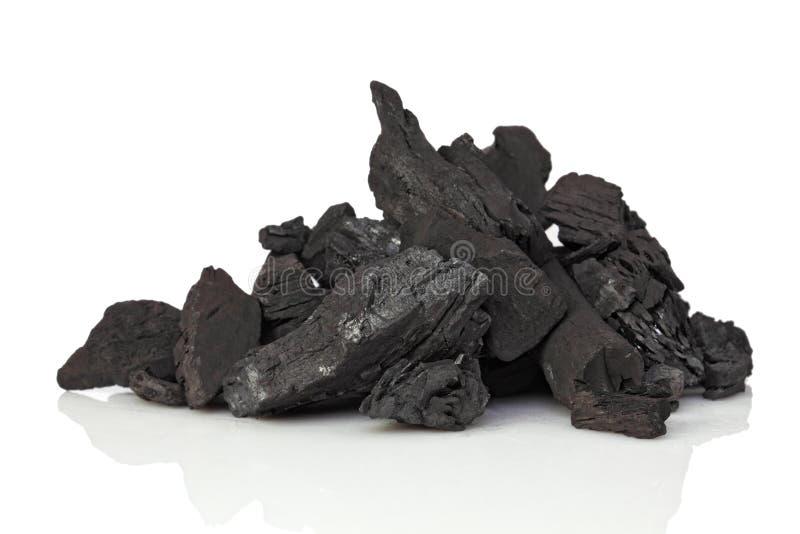Coal on white. Fine image closeup of classic coal on white background royalty free stock image