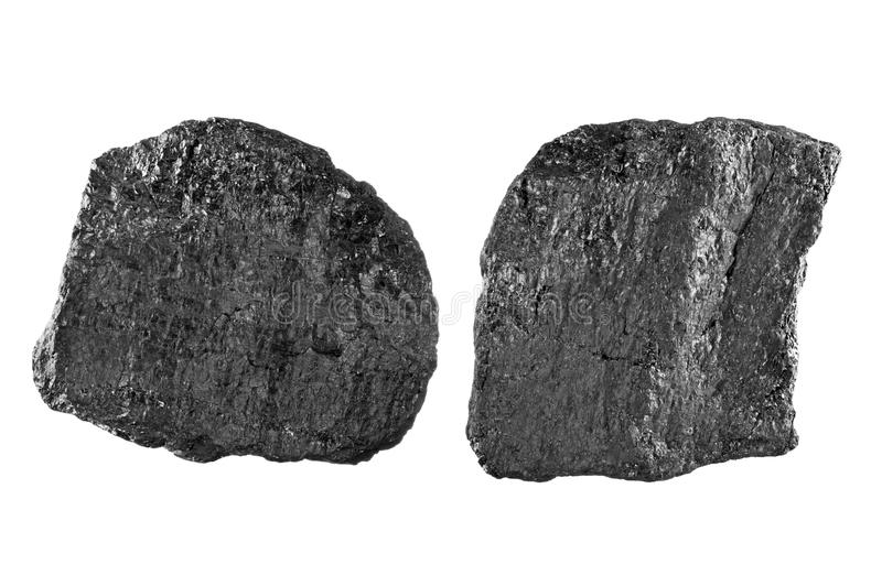 Coal on white royalty free stock photography