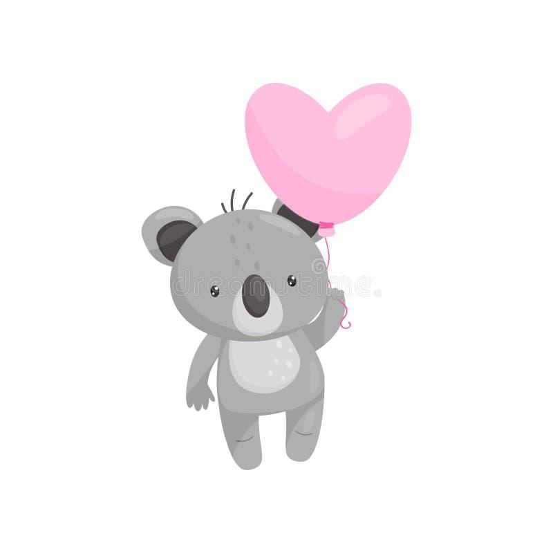 Coala adorável com o balão coração-dado forma cor-de-rosa brilhante Animal selvagem Tema do amor Projeto liso do vetor ilustração do vetor