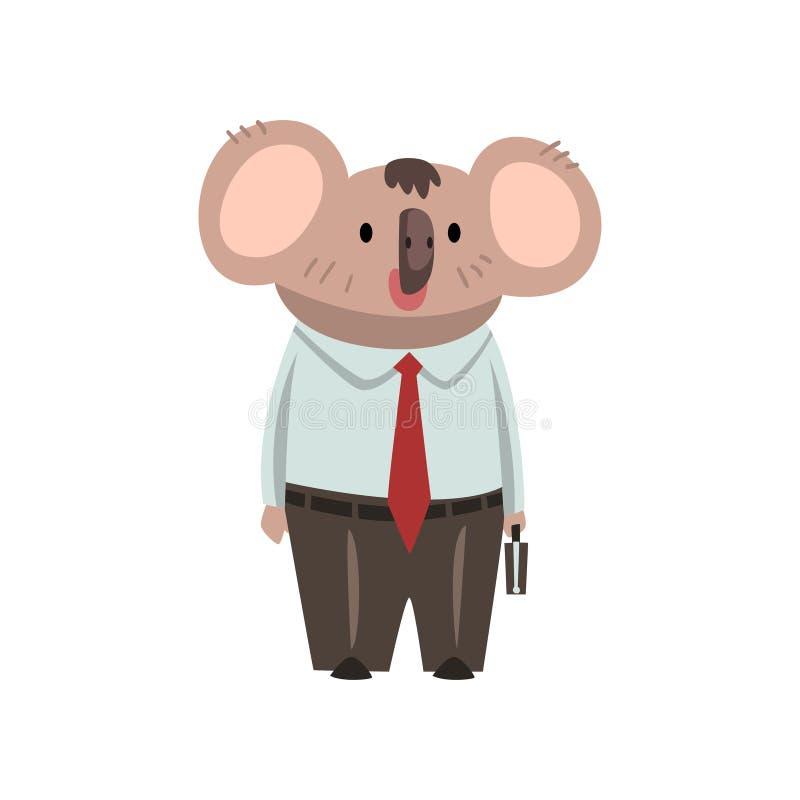 Coala björnaffärsman Office Worker, gulligt humaniserat djurt tecknad filmtecken som bär formell kläder som står med stock illustrationer
