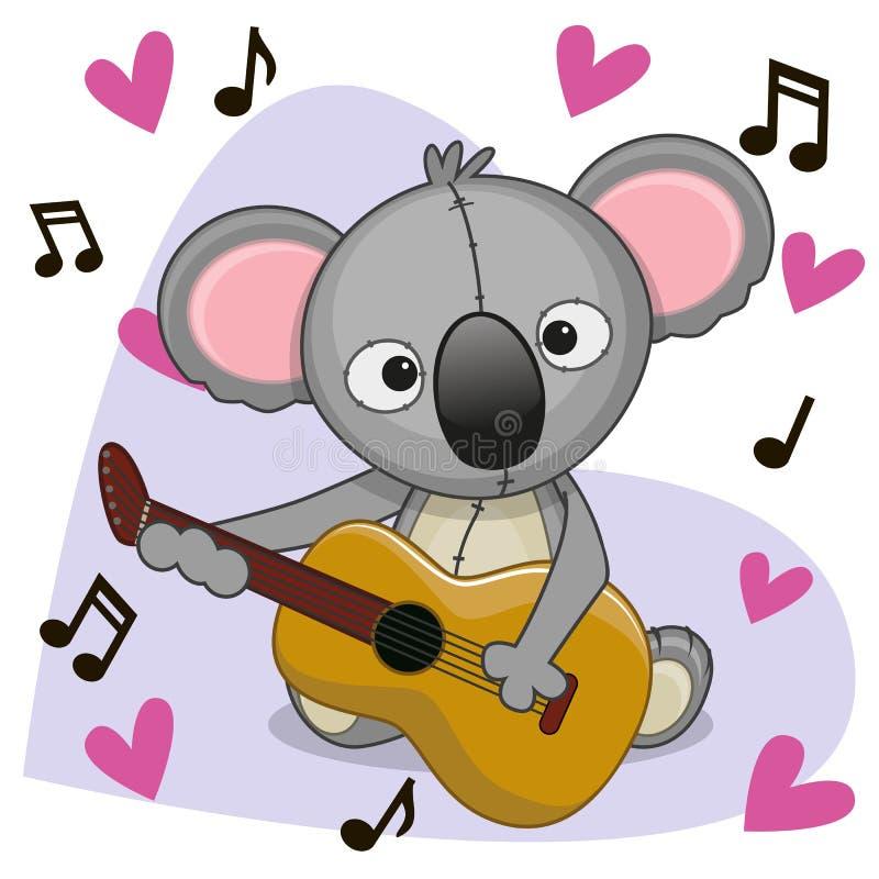 Coala com guitarra ilustração stock