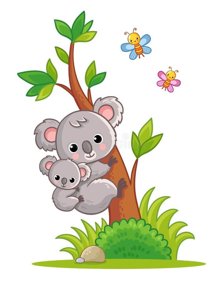 Coala com um filhote em suas escaladas traseiras uma ?rvore Ilustra??o do vetor com animal bonito ilustração do vetor