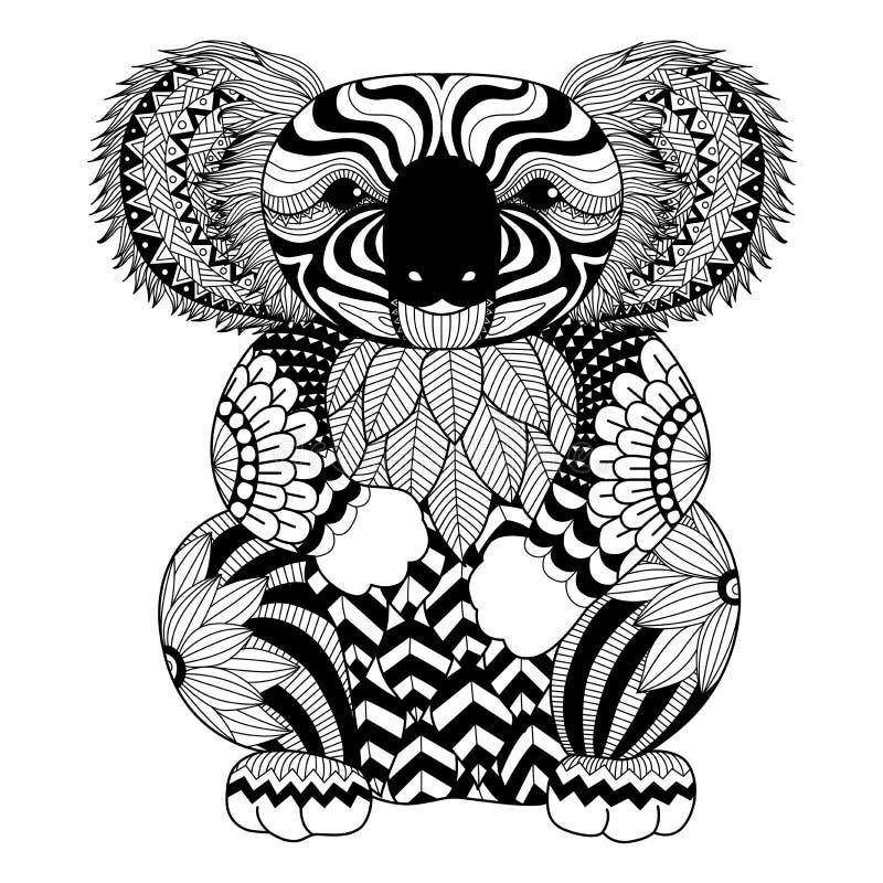 Coala do zentangle do desenho para a página colorindo, o efeito do projeto da camisa, o logotipo, a tatuagem e a decoração ilustração stock