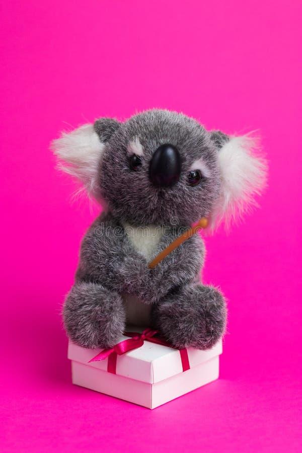 A coala dos desenhos animados do brinquedo senta-se em uma caixa de presente branca em um fundo cor-de-rosa foto de stock