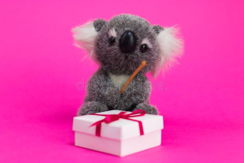 A coala dos desenhos animados do brinquedo senta-se em uma caixa de presente branca em um fundo cor-de-rosa imagem de stock royalty free